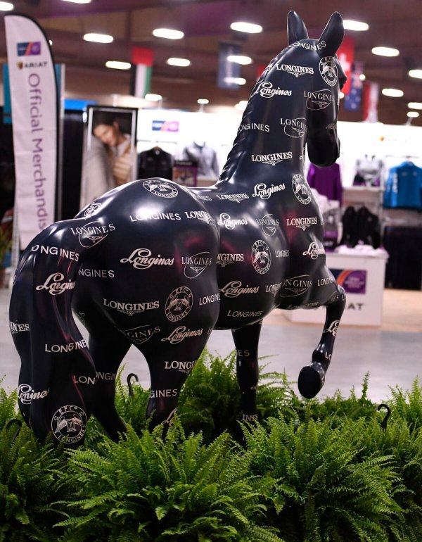 © Alden Corrigan: Longines horse with Official FEI Merchandise booth