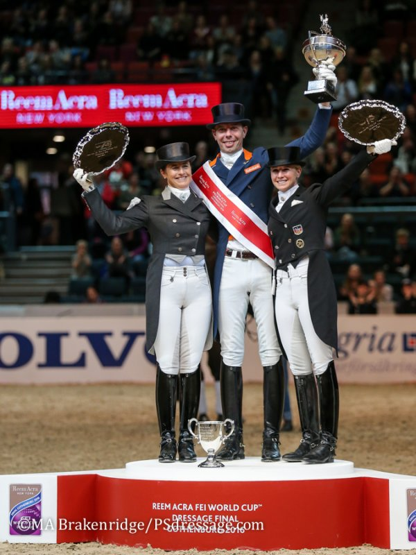 © Mary Adelaide Brakenridge: Tinne Vilhelmson-Silfvén, Hans Peter Minderhoud and Jessica von Bredow-Werndl on the podium